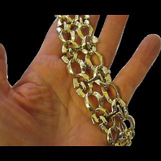 Vintage Coro wide silver tone linked bracelet