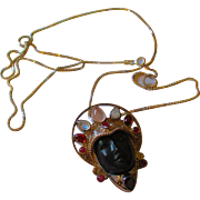 Beautiful carved black wood Goddess convertible Sajen necklace many gemstones