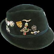 Vintage Barvarian green wool mens hat/ 17 vintage Barvarian pins - Red Tag Sale Item