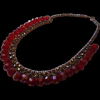Vintage Bright shiny red AB glass rhinestone necklace