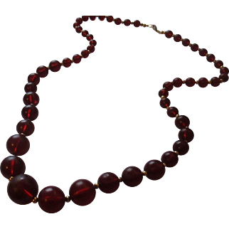 Vintage Cherry red early plastic necklace