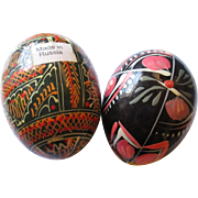 Vintage hand painted wood Russian eggs