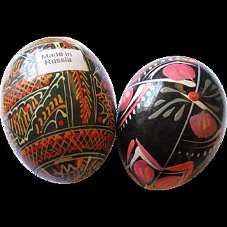 Vintage hand painted wood Russian eggs