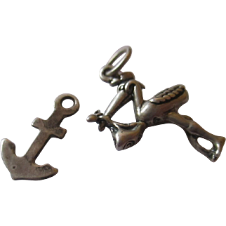Vintage two sterling silver charm, Stork, anchor.
