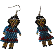 Cute vintage little hand made glass beaded native american earrings.