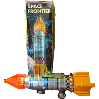 Vintage large Japan/Tin Space Frontier Rocket/w box