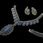 Vintage Dainty Demi set, light blue faux moonstone