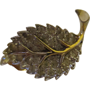 Vintage Jomaz leaf gold tone, full of rhinestone earrings