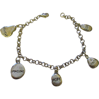 Inspiration solid sterling nugget charms/ rolo bracelet