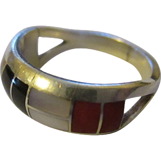 Turquoise/Coral/black onyx/mother of pearl inlaid sterling ring