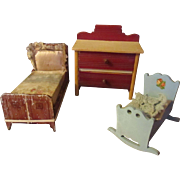 Vintage Doll miniature bedroom furniture