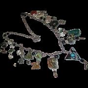 Unique gemstone long fetish necklace