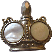 Cute small silver tone/ mother of pearl perfume flask pendant