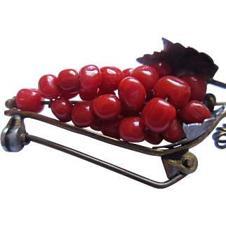 Victorian beaded Coral/Grape bunch brooch 800 silver