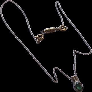 Emerald/diamond pendant 10k 14k chain. Not Lab created