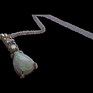 Diamond/opal/14K necklace Not Lab created
