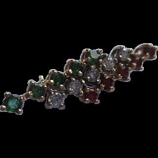 Beautiful 14k early 40's emerald/diamond/ruby brooch.