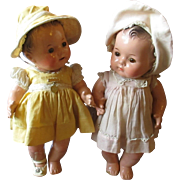 """Pair of 1930's All composition  Madame Alexander 12"""" Genuine Dionne Quintuplet x 2 dolls"""