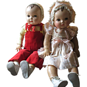 "Twin Plassie Dolls by Ideal 27"" magic skin (Kapok) largest of the Plassie"