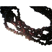 Deep red 5 strand Garnet nugget 925 sterling necklace