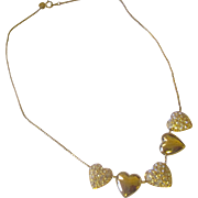 Joan Rivers rhinestone heart slider necklace