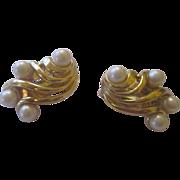 Vintage faux pearl, gold tone earrings
