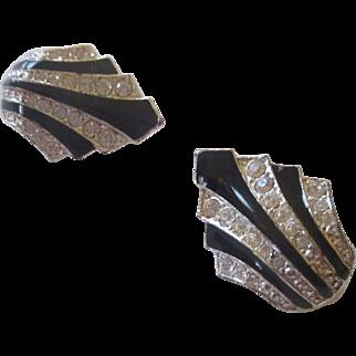 Black enamel/ silver tone, rhinestone Avon earrings