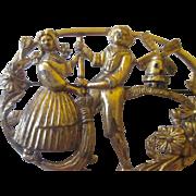 Vintage Brass brooch girl boy/ wind mill
