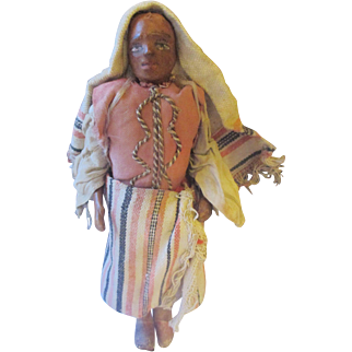 Vintage Moroccan  hand made leather miniature doll.