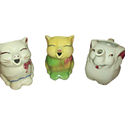 Set of Three vintage Shawnee Creamers, Two Puss n Boots, one elephant