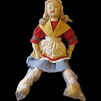 """Vintage 25"""" Felt Dutch doll"""
