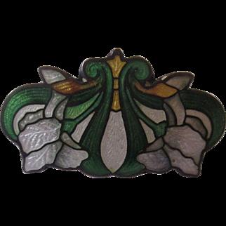 Sterling Guilloche Art Nouveau brooch
