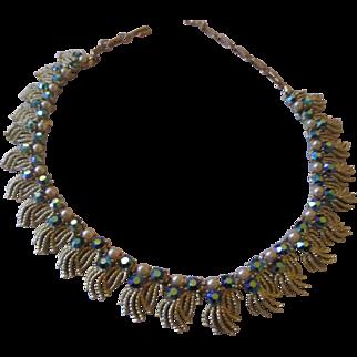 Very nice Coro AB blue rhinestone necklace