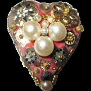 Rare Leni Kuborn-Grothe Heart brooch