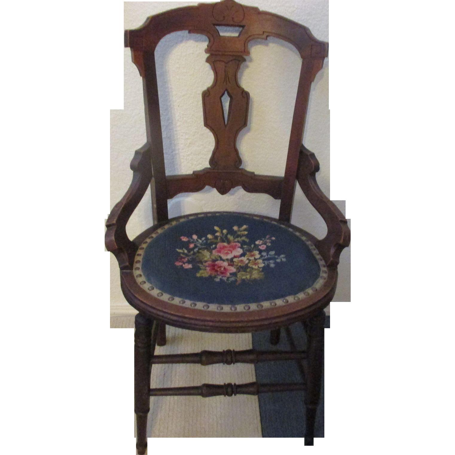 Antique sleek 1880 1910 light weight bedroom chair or