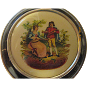 Vintage 1920's Hand painted Victorian woman, man scene, face powder compact