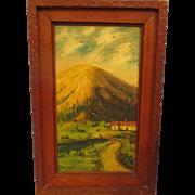 Vintage 1940's folk art oil painting
