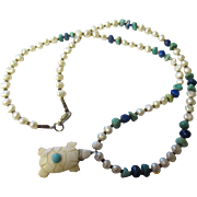 Vintage fresh water pearl, lapis, turquoise,bone, and tiger eye necklace.