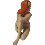 Vintage Ceramic Bare red head woman.