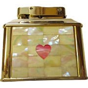 Vintage Crown Cigarette lighter with mother of pearl front,