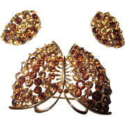 Vintage Lisner Monarch Butterfly brooch, with butterfly earrings