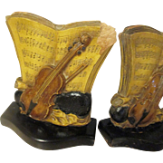 Vintage composition Bookends, volin, sheet music.