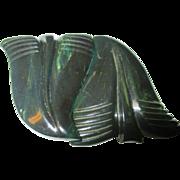 Vintage bakelite spinach colored belt buckle