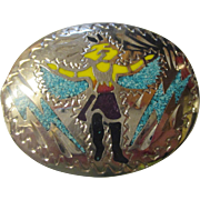 Collectable belt buckle turquoise chips.