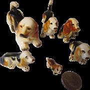 Vintage bone china family of Basset hound figurines x 6  Japan