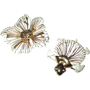 Cute Set, enamel and filigree turtle and flower brooch