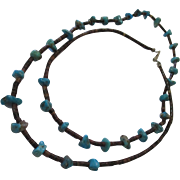 Raw chunky turquoise beads, tiger eye long necklace