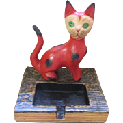 Vintage wooden folk art red cat & card holder