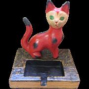 Vintage wooden folk art red cat & card holder