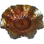 Dugan & Diamond Marigold Carnival Glass 7 inch Ruffled Bowl - Fish Scale and Beads pattern (1911 - 1931) - Red Tag Sale Item